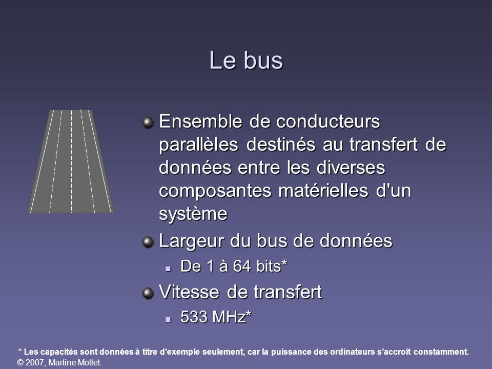 Le bus Ensemble de conducteurs parallèles destinés au transfert de données entre les diverses composantes matérielles d un système.