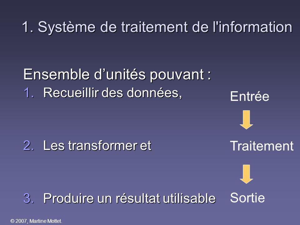 1. Système de traitement de l information