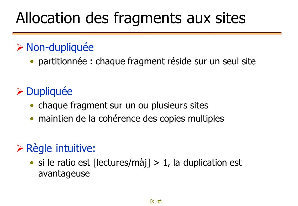 Allocation des fragments aux sites