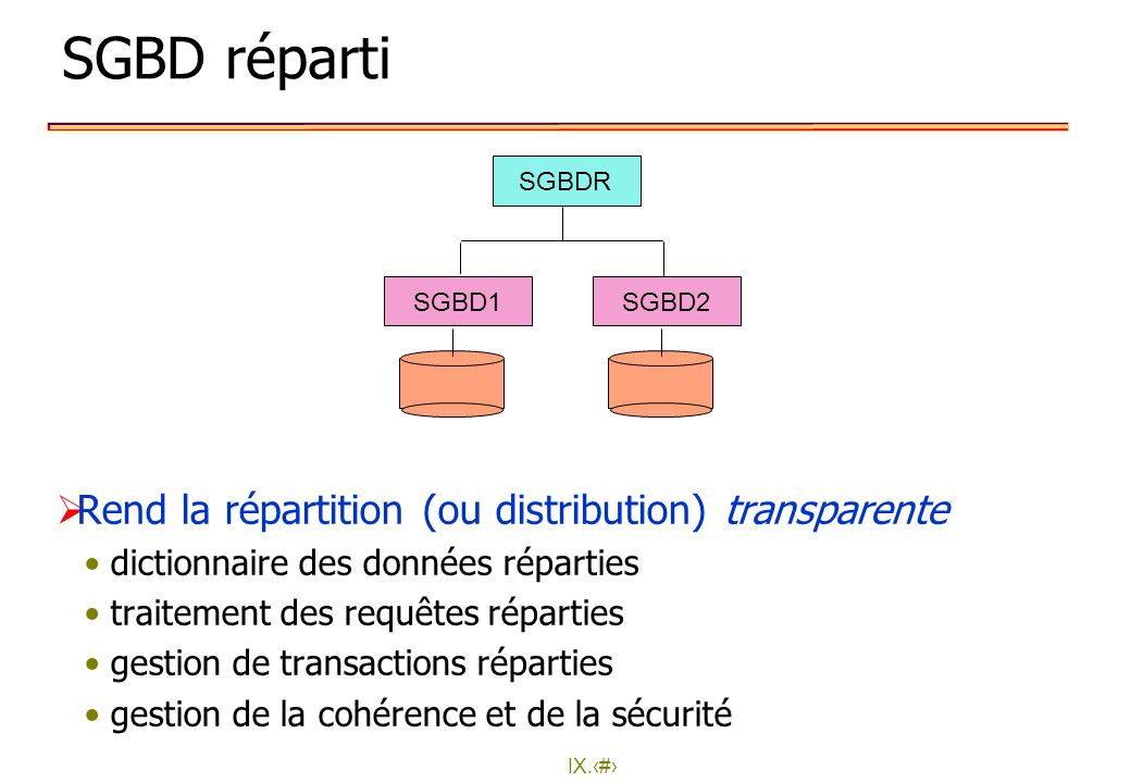 SGBD réparti Rend la répartition (ou distribution) transparente