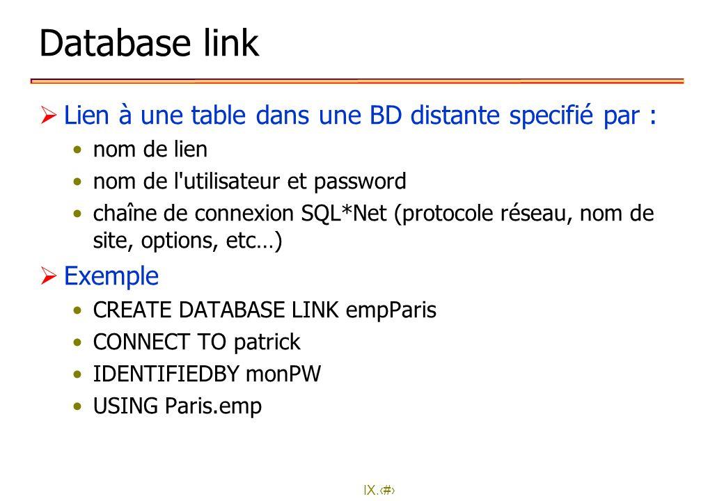 Database link Lien à une table dans une BD distante specifié par :