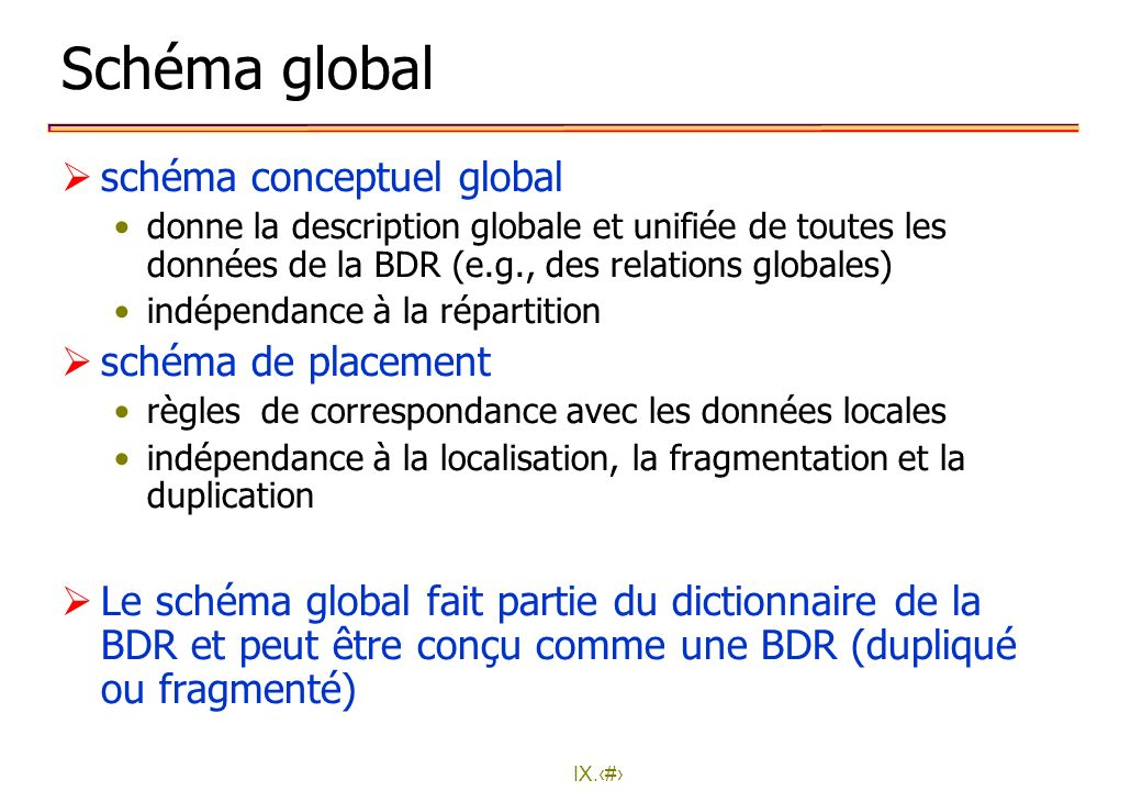 Schéma global schéma conceptuel global schéma de placement