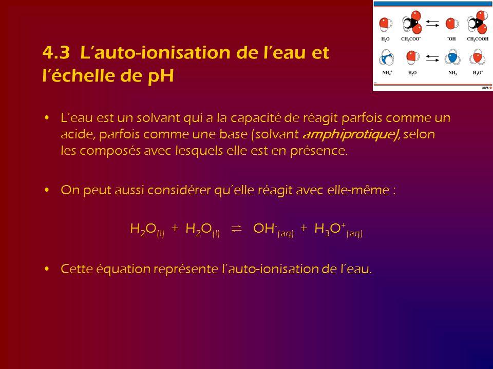 4.3 L'auto-ionisation de l'eau et l'échelle de pH