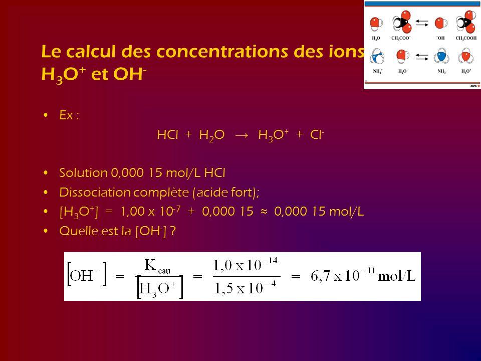 Le calcul des concentrations des ions H3O+ et OH-