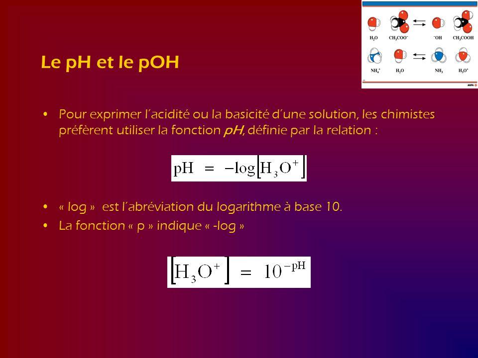 Le pH et le pOH Pour exprimer l'acidité ou la basicité d'une solution, les chimistes préfèrent utiliser la fonction pH, définie par la relation :