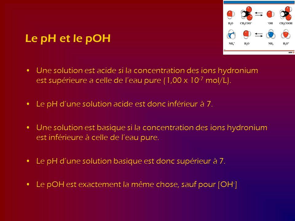 Le pH et le pOH Une solution est acide si la concentration des ions hydronium est supérieure a celle de l'eau pure (1,00 x 10-7 mol/L).