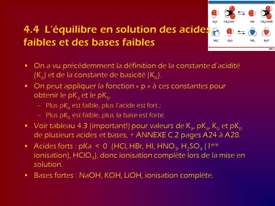 4.4 L'équilibre en solution des acides faibles et des bases faibles