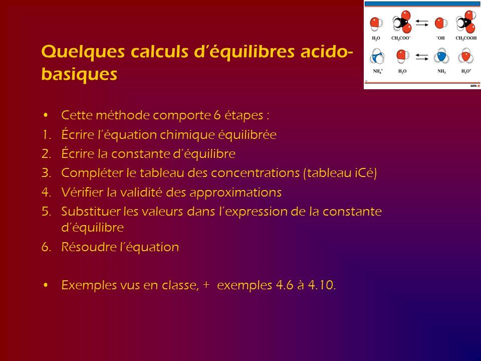 Quelques calculs d'équilibres acido- basiques