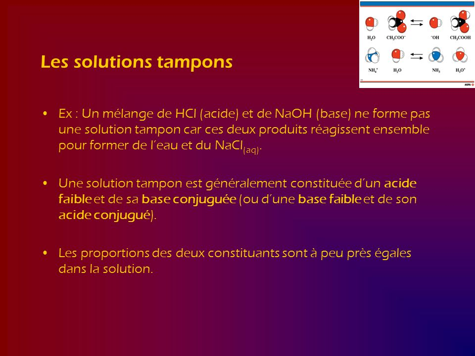 Les solutions tampons