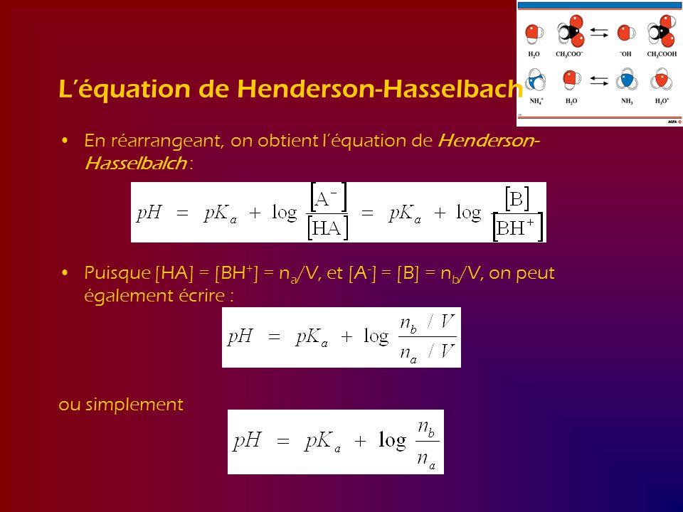L'équation de Henderson-Hasselbach