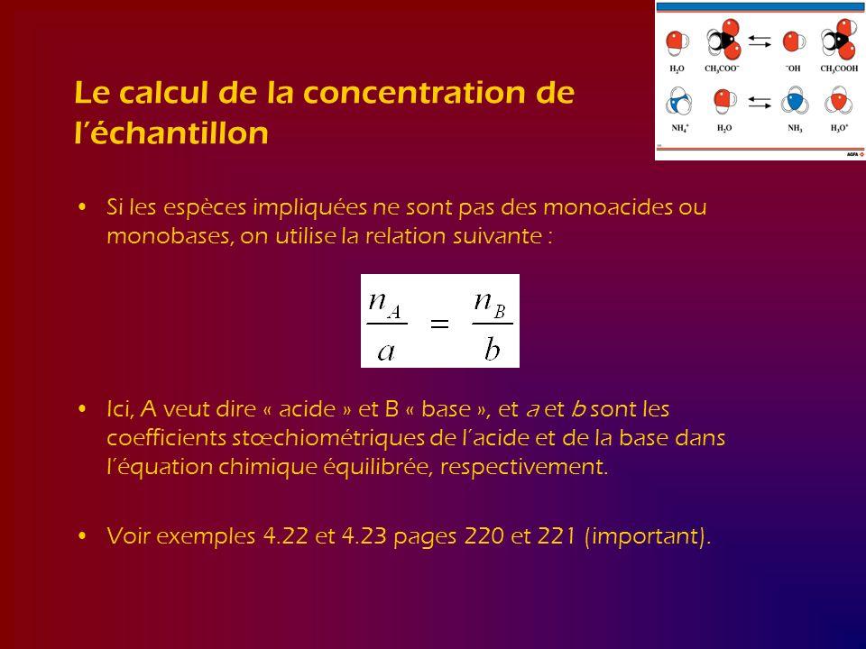 Le calcul de la concentration de l'échantillon