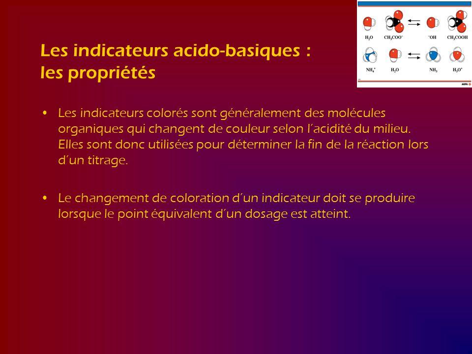 Les indicateurs acido-basiques : les propriétés