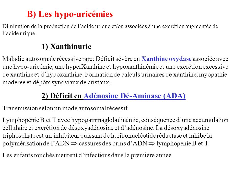 2) Déficit en Adénosine Dé-Aminase (ADA)