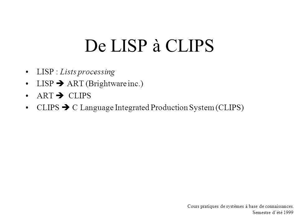 De LISP à CLIPS LISP : Lists processing LISP  ART (Brightware inc.)