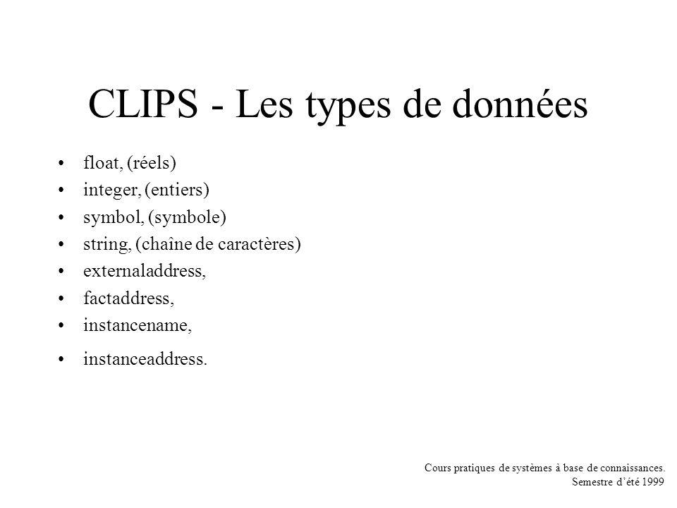 CLIPS - Les types de données