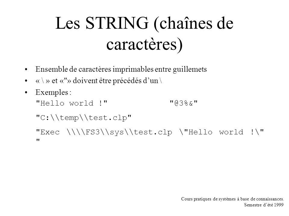 Les STRING (chaînes de caractères)