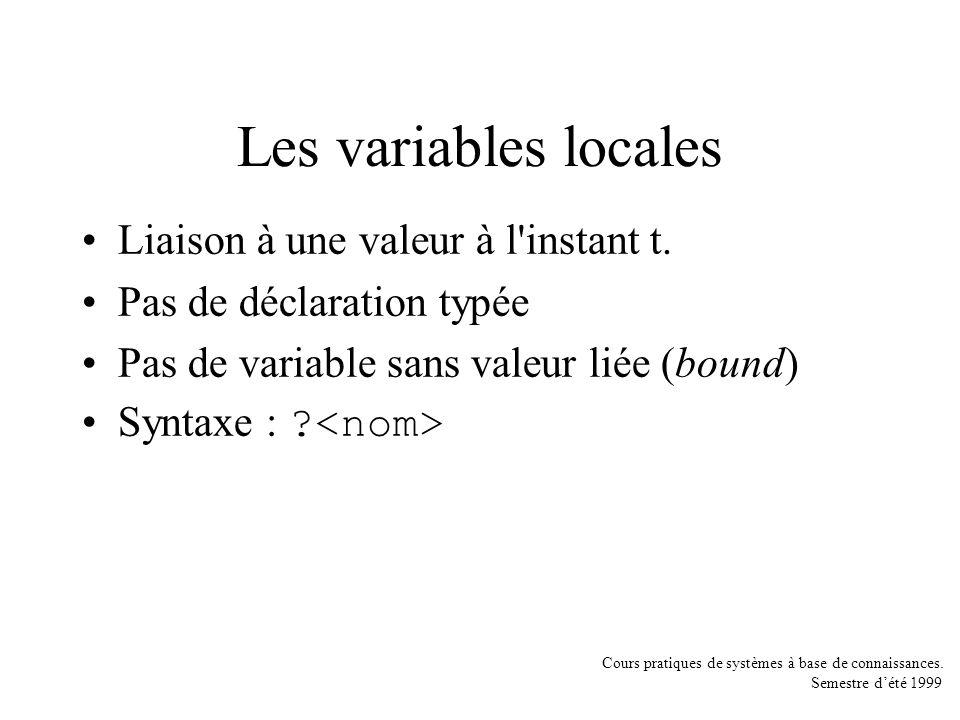 Les variables locales Liaison à une valeur à l instant t.