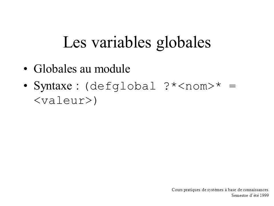 Les variables globales