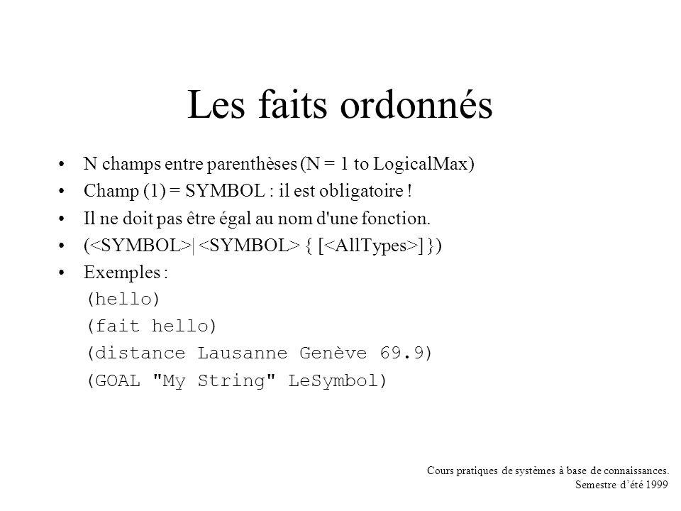 Les faits ordonnés N champs entre parenthèses (N = 1 to LogicalMax)