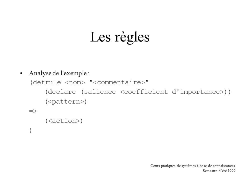 Les règles Analyse de l exemple :
