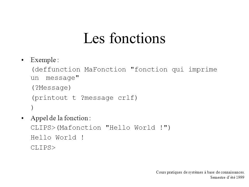 Les fonctions Exemple :
