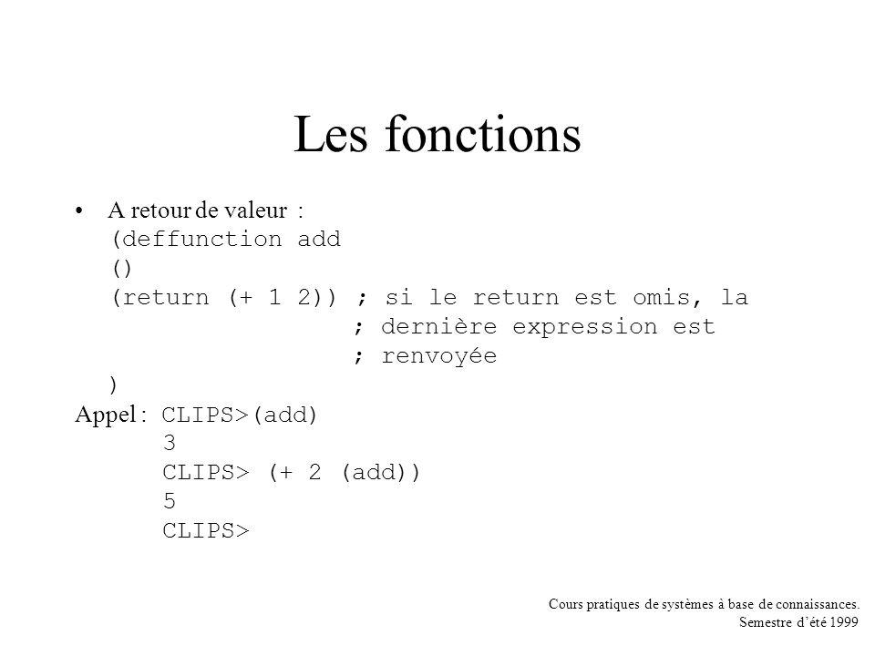 Les fonctions A retour de valeur : (deffunction add ()
