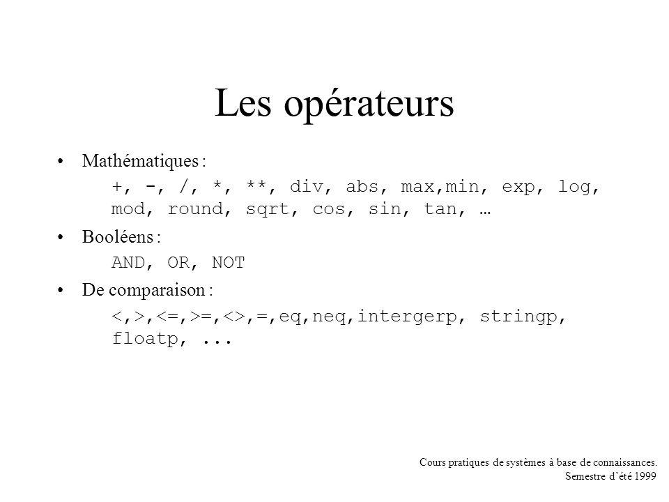 Les opérateurs Mathématiques :