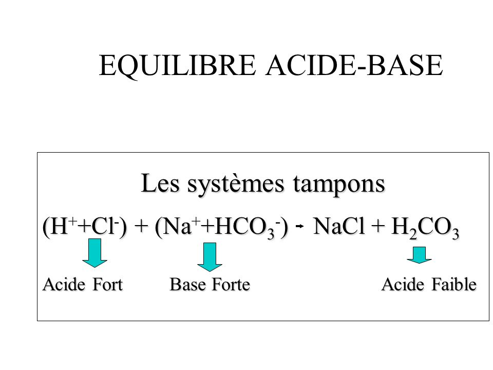 EQUILIBRE ACIDE-BASE Les systèmes tampons