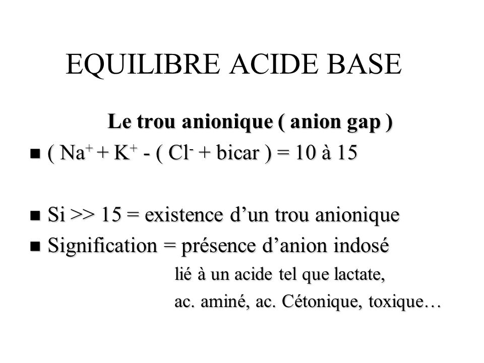 Le trou anionique ( anion gap )