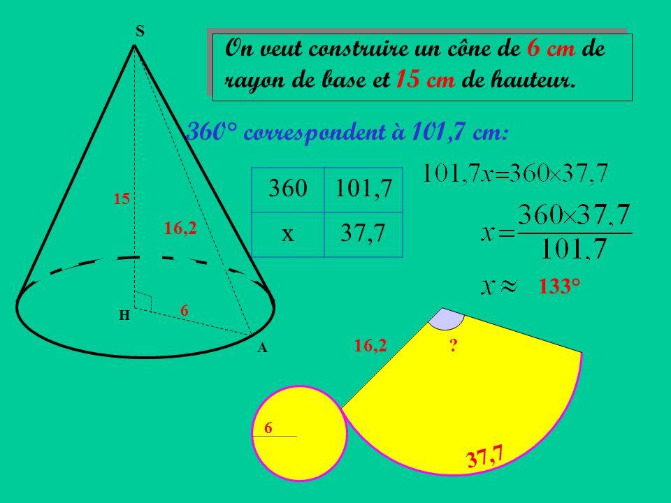S On veut construire un cône de 6 cm de rayon de base et 15 cm de hauteur. 360° correspondent à 101,7 cm: