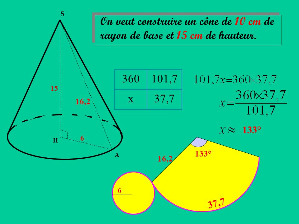 S On veut construire un cône de 10 cm de rayon de base et 15 cm de hauteur. 360. 101,7. x. 37,7.