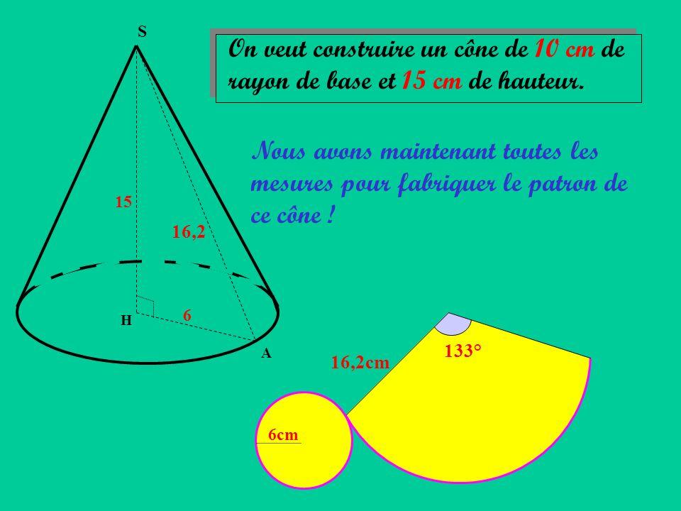 S On veut construire un cône de 10 cm de rayon de base et 15 cm de hauteur.