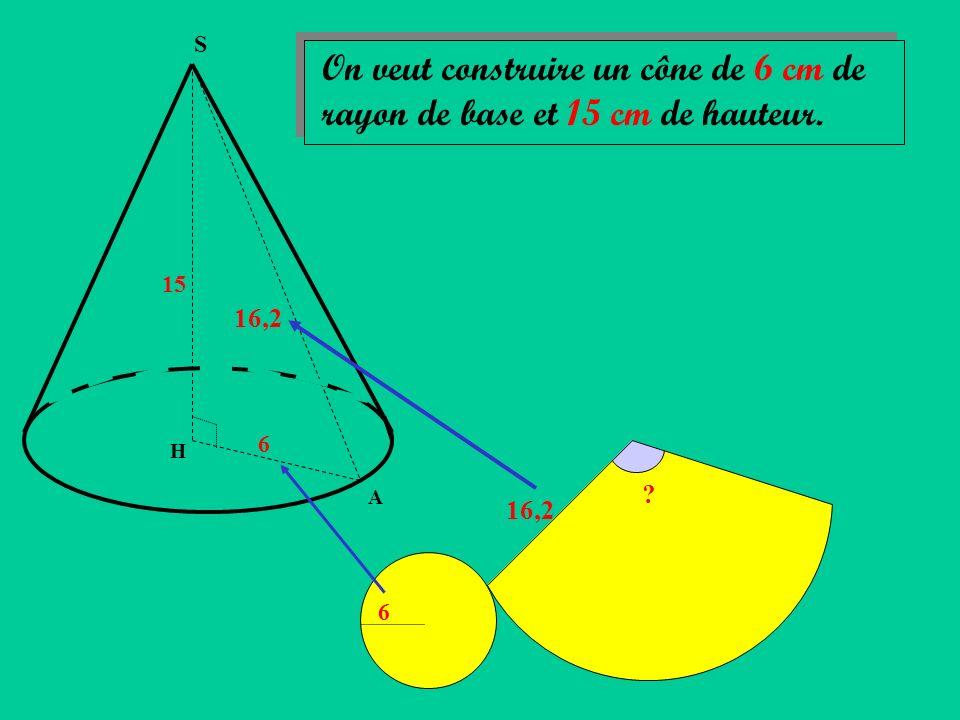 S On veut construire un cône de 6 cm de rayon de base et 15 cm de hauteur. 15 16,2 6 H A 16,2 6