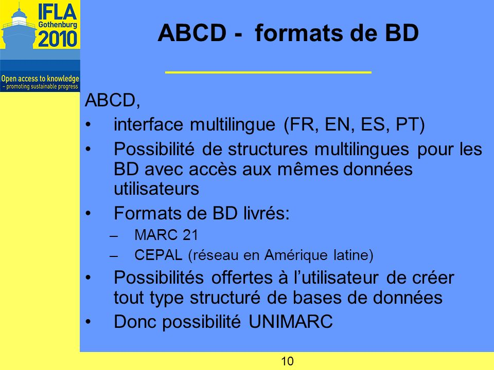 ABCD - formats de BD ABCD, interface multilingue (FR, EN, ES, PT)