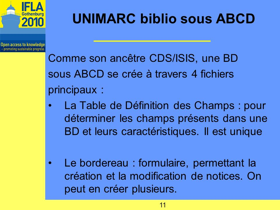 UNIMARC biblio sous ABCD