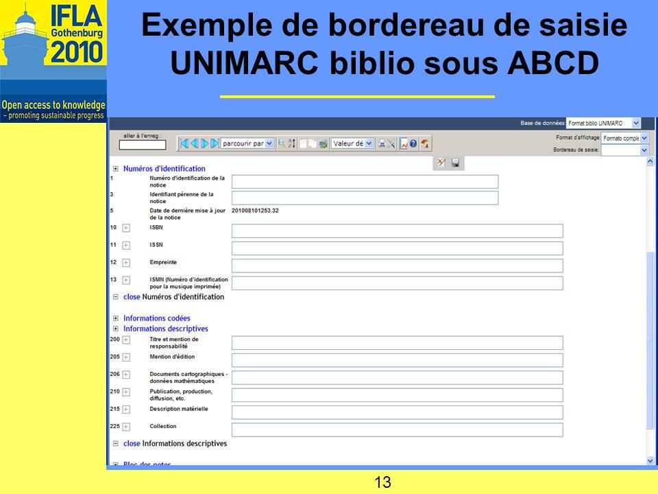 Exemple de bordereau de saisie UNIMARC biblio sous ABCD