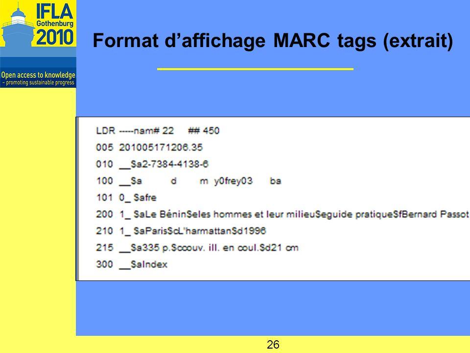 Format d'affichage MARC tags (extrait)