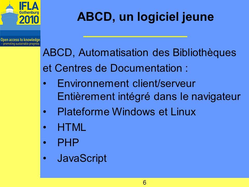 ABCD, un logiciel jeune ABCD, Automatisation des Bibliothèques