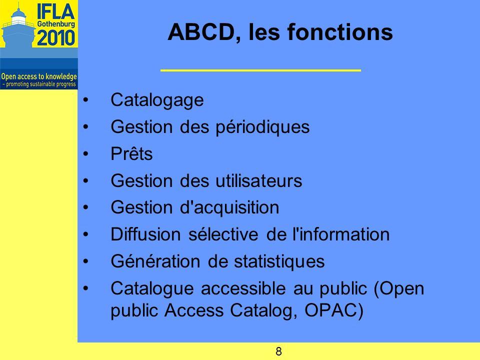 ABCD, les fonctions Catalogage Gestion des périodiques Prêts
