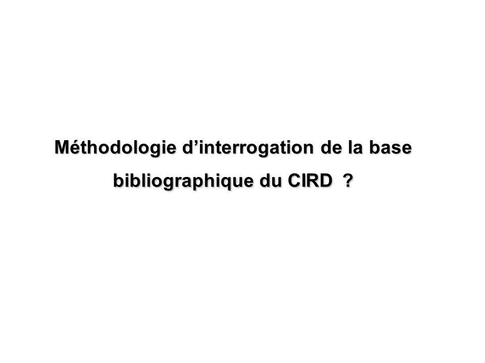 Méthodologie d'interrogation de la base bibliographique du CIRD