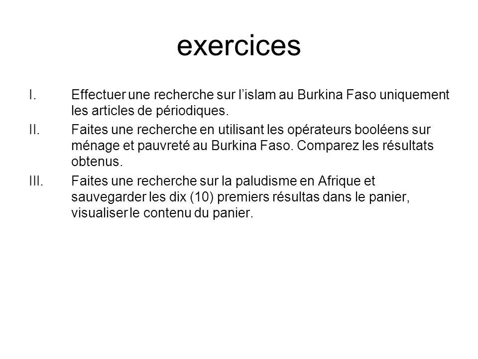 exercices Effectuer une recherche sur l'islam au Burkina Faso uniquement les articles de périodiques.