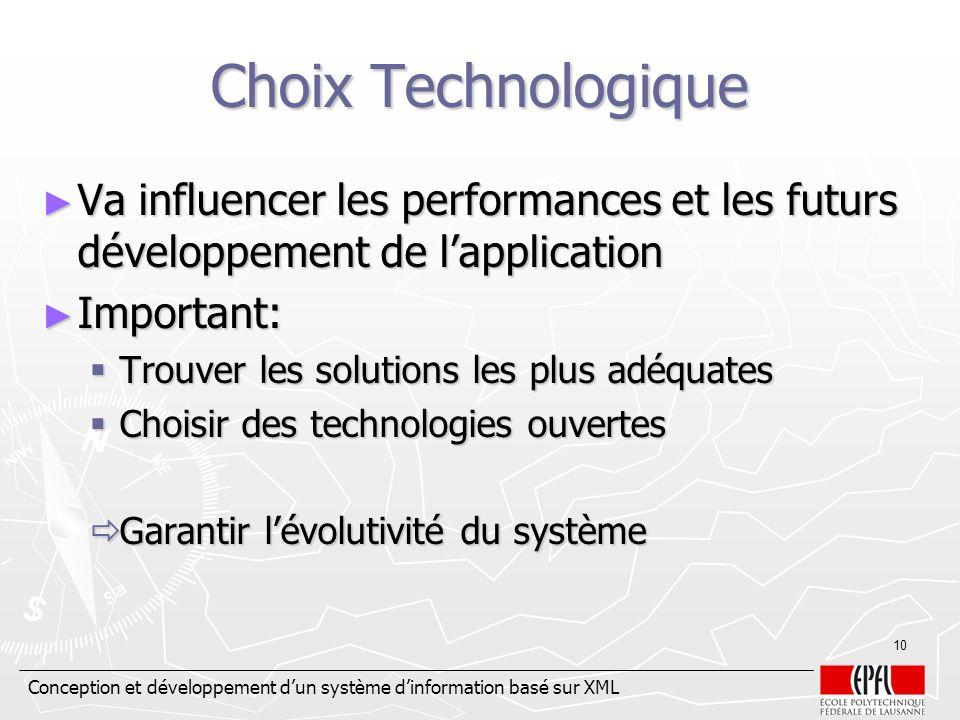 Choix Technologique Va influencer les performances et les futurs développement de l'application. Important: