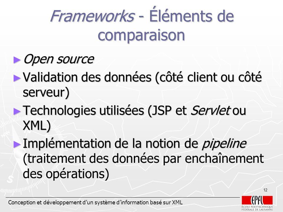 Frameworks - Éléments de comparaison