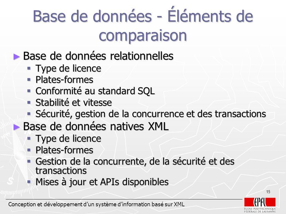 Base de données - Éléments de comparaison