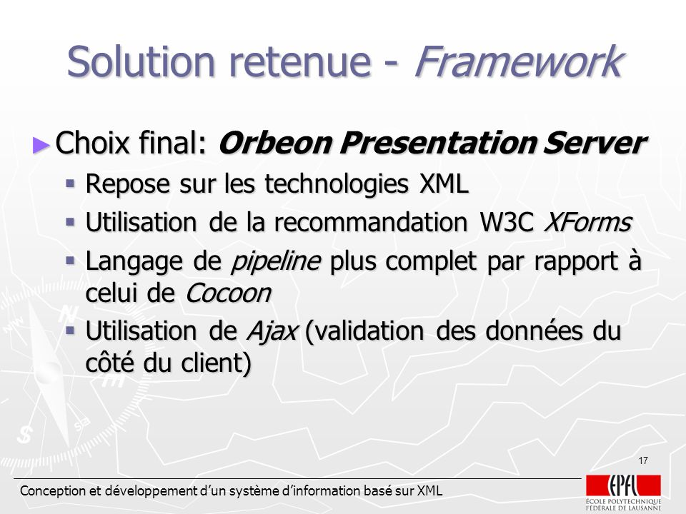 Solution retenue - Framework