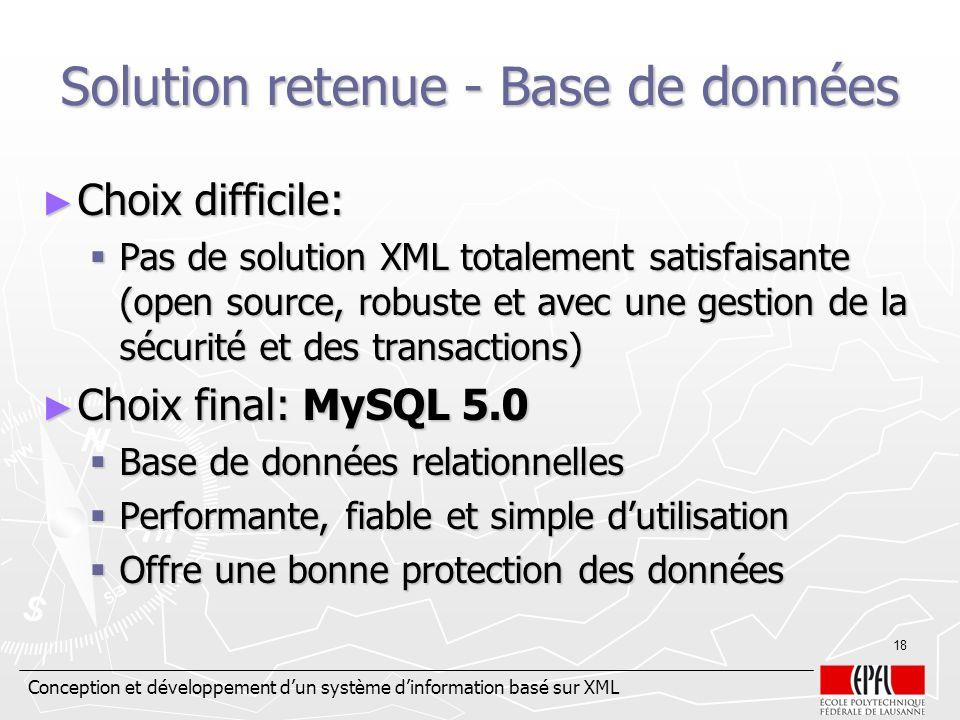Solution retenue - Base de données