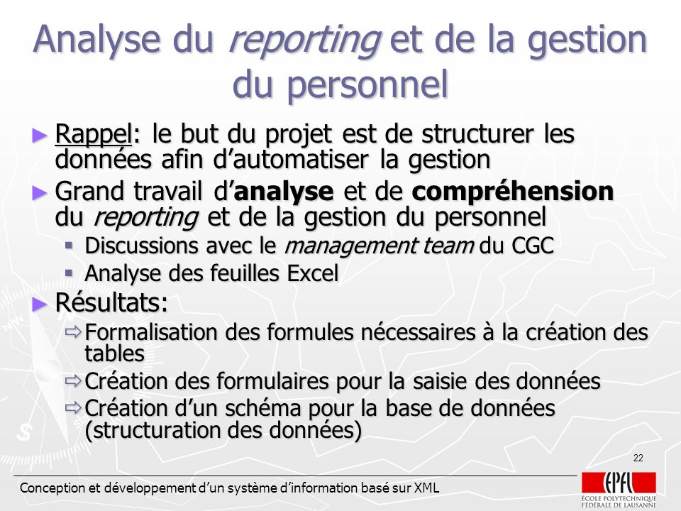 Analyse du reporting et de la gestion du personnel