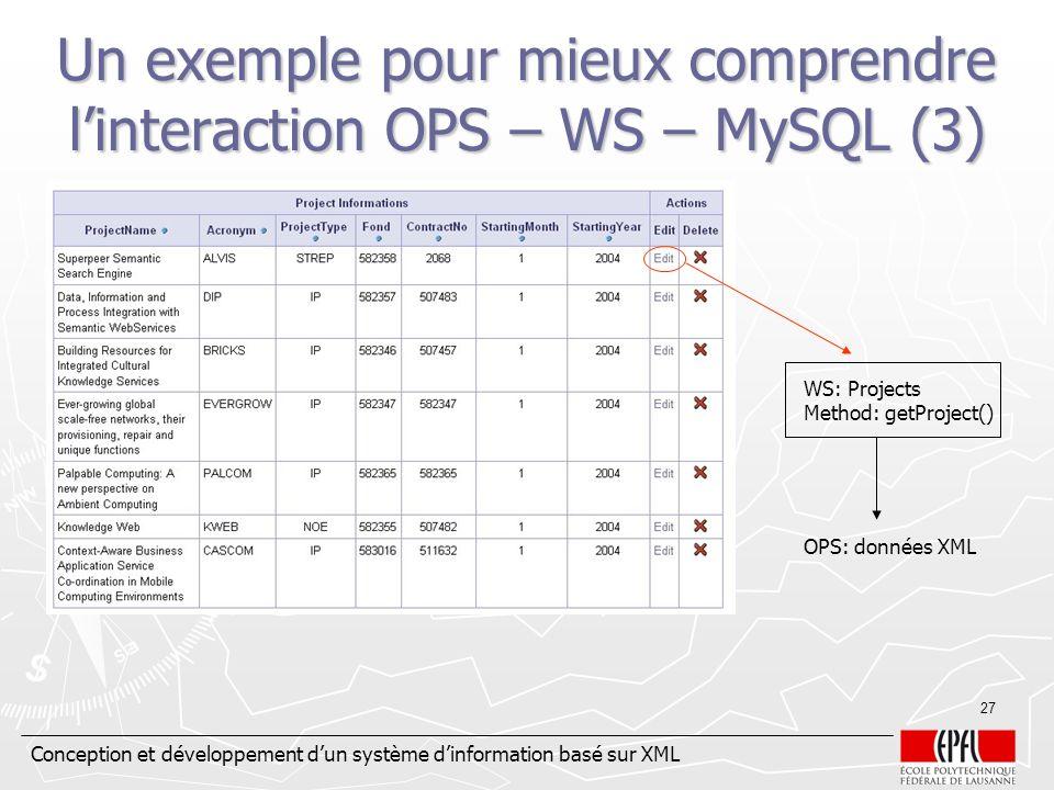 Un exemple pour mieux comprendre l'interaction OPS – WS – MySQL (3)
