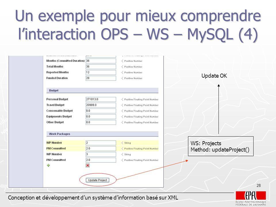 Un exemple pour mieux comprendre l'interaction OPS – WS – MySQL (4)