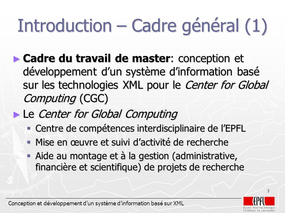 Introduction – Cadre général (1)